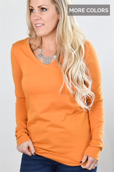 Picture of Basic Long Sleeve V-Neck Tee