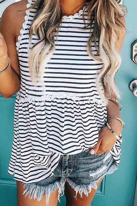 Picture of Black Striped Flowy Tank