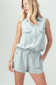 Picture of Sleeveless Chambray Romper